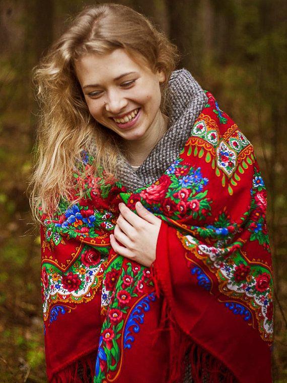 Платок шаль Браслет красная синяя розы шерсть 100% русская