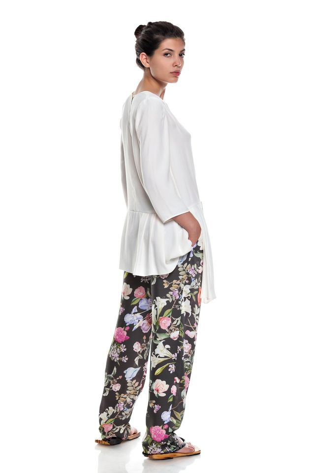 White blouse 3/4 sleeves ,floral print pants .