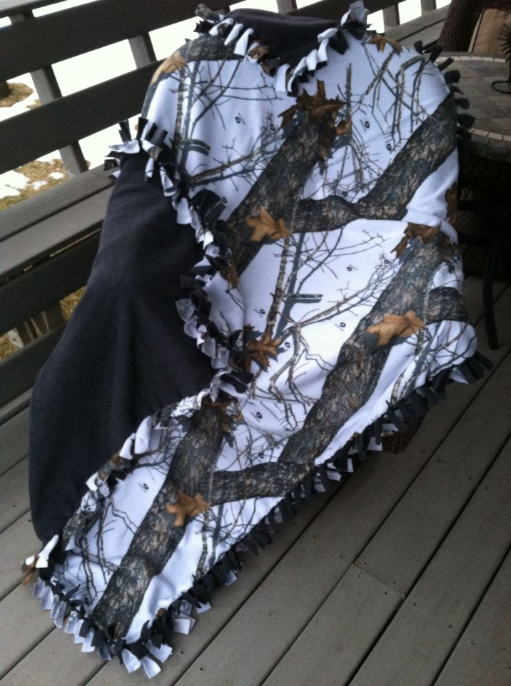 Winter camo/charcoal fleece tie blanket