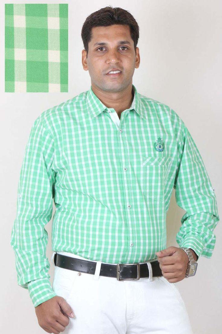 Buy Checks Green Casual Linen Shirt For Men Online in India