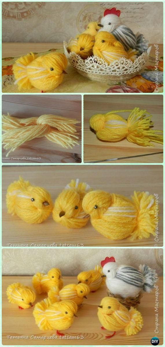DIY Yarn Chickens Instruction - Yarn #Easter #Crafts No Crochet