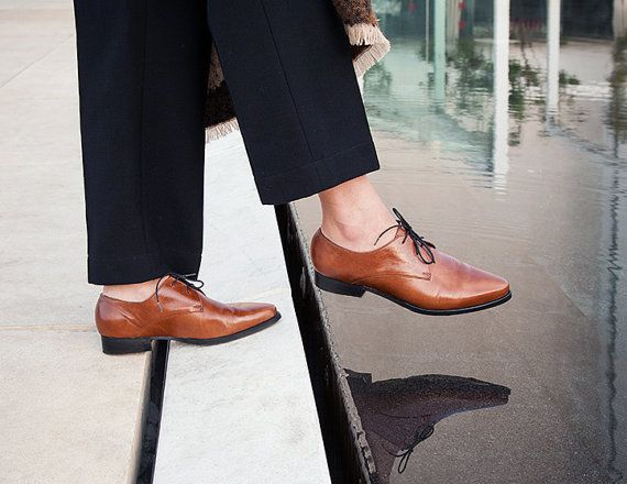Womens shoes   Leather Oxfords Brown Leather Shoes by KatzAndBirds