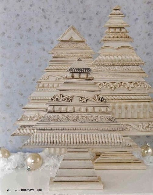 Made to Order Set of 3 Architectural Recycled by LucyDesignsonline As seen in Somerset Holidays and Celebrations Magazine 2014 http://stampington.com/Somerset-Holidays-and-Celebrations-2014-Volume-8