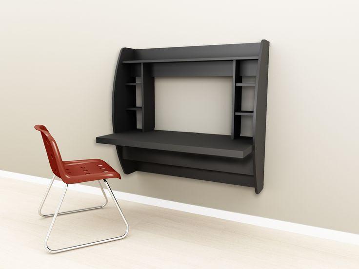 Beautiful Prepac BEHW 0200 1 Black Floating Desk With Storage. Wall Mounted ...