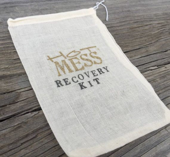 10 Gold Hot Mess recovery kits, bachelorette party favor bags, hangover kits, hangover favors, bridesmaid gifts