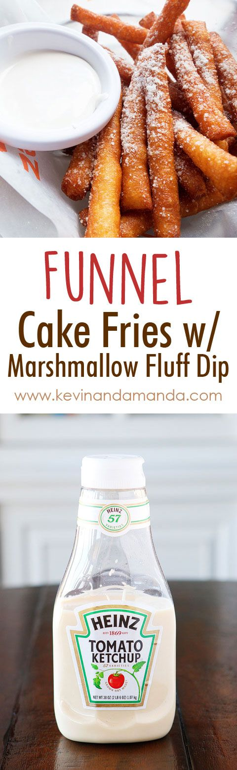 OMG these are Funnel Cake FRIES with Marshmallow Fluff Dip!! So fun!! Super easy method, what a great idea!