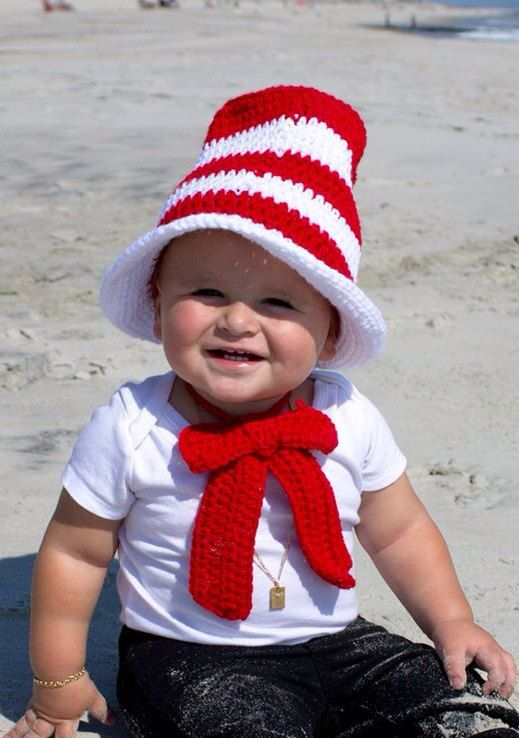 crocheted cat in the hat inspired baby hat neck tie and diaper cover photo prop - Diaper Costume Halloween