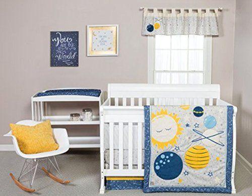 Blue Yellow And Grey Rocket Ship Galaxy Solar System Baby
