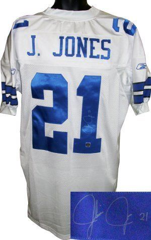 Julius Jones signed Dallas Cowboys Reebok Authentic White Jersey . $136.80. In 2004 the Dallas Cowboys drafted Julius Jones out of the University of Notre Dame in the second round. He is the younger brother of Kansas City Chiefs running back Thomas Jones and in 2006 they became the first brothers to each rush for 1,000 yards in the same season. Julius Jones has hand autographed this Dallas Cowboys Reebok White Authentic jersey. MB Hologram and Certificate of Authenticity...