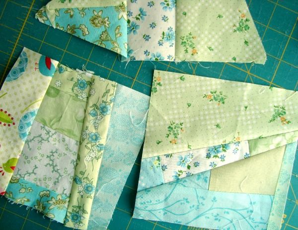 How to Sew a Mile a Minute--Technique for sewing scraps together quickly to make blocks. It would use up all those odd shape pieces.
