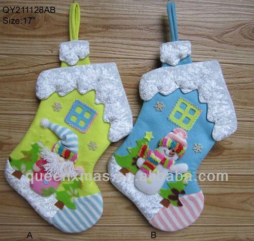 terciopelo y tela de fieltro el primer bebé de medias de navidad santa con los patrones de muñeco de nieve-Adornos navideños-Identificación del producto:726473522-spanish.alibaba.com