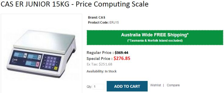 Best Deals on CAS ER JUNIOR 15KG - Price Computing Scale. OnlyPOS now offering 24% OFF on regular price including FREE Shipping in Australia..!  http://www.onlypos.com.au/cas-ERJ15