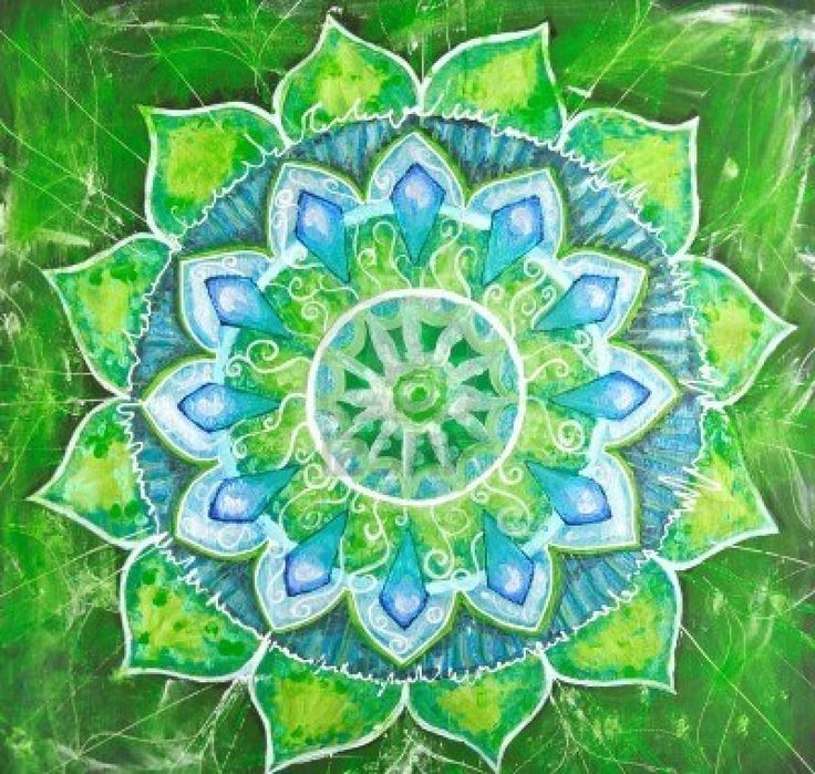 abstract green painted picture with circle pattern, mandala of anahata chakra Stock Photo