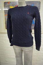 Ralph Lauren schöner Damen Strick Pullover XS Baumwolle Zopf Muster in navyblau