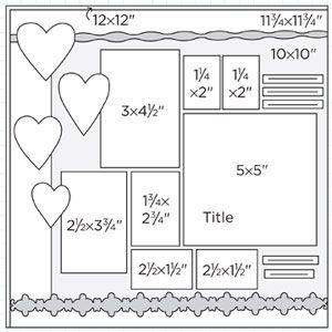 Multiphoto Scrapbook Page Sketches 211-240: Scrapbook Page Sketch 304