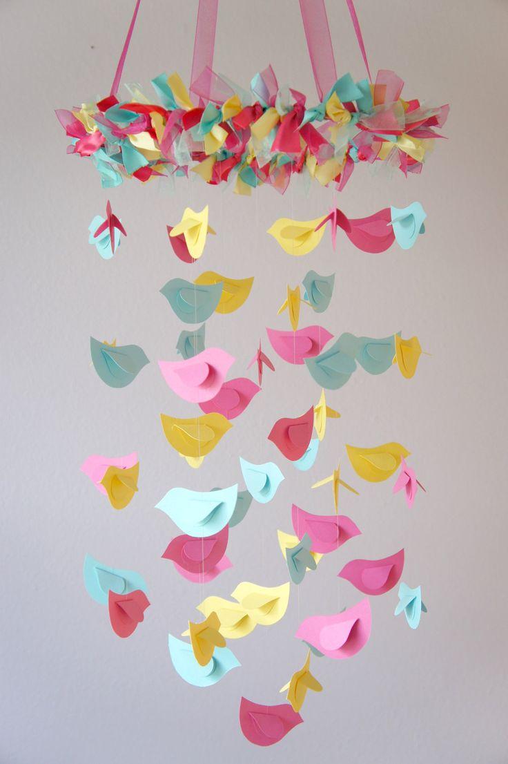 Zellers baby cribs - Bird Mobile Pink Yellow Aqua For Baby Nursery By Lovebuglullabies