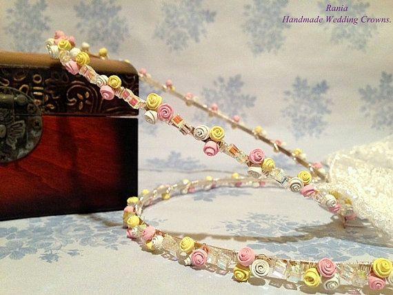 Wedding Crowns.Handmade Orthodox Stefana.Swarovski by RNIA on Etsy, €119.00