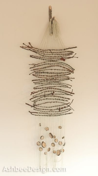 Cardboard Loom weaving with twigs by Marji @ AshbeeDesign.com
