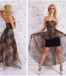 Κομψό μίνι φόρεμα με ουρά-leopard