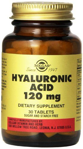 Solgar Hyaluronic Acid Tablets, 120 mg, 30 Count. One of Solgar's premium-quality bone and joint support products. Helps to maintain normal joint cushioning. Sugar and starch free. Hyaluronic acid is an important component of the connective tissue that fills the spaces between cells of the skin and other tissues, and is a major ingredient of the synovial fluid that lubricates and cushions joints as well as the vitreous humor that fills the inner chamber of the eye.