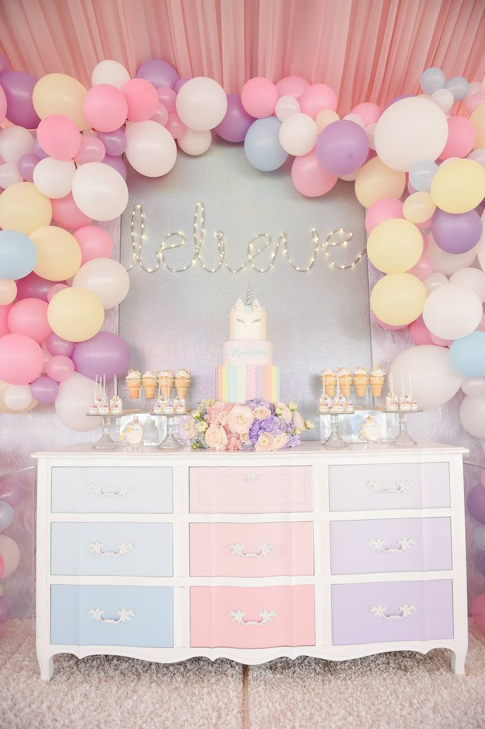 Dream Believe Wish Pastel Unicorn Birthday Party On Karas Ideas
