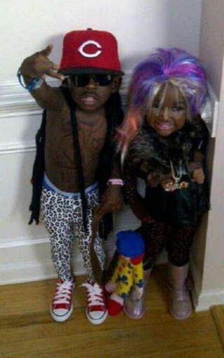 Funny Kids Lil Wayne & Nikki Minaj Halloween Costumes- OMFG what is this world coming??!!!! really..?? why not a ninja turtle and tinkerbell?? haha