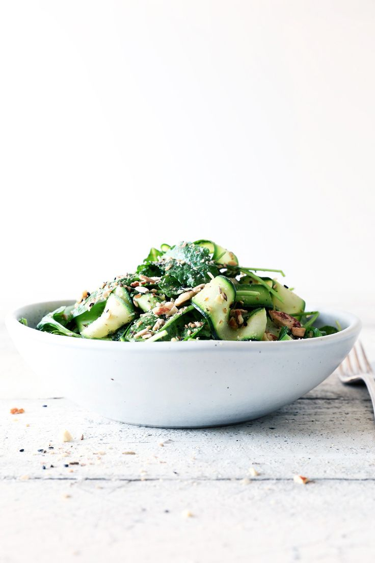 Courgette Avocado Kale Salad with Almond Dukkah