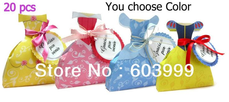 Princess Wedding Dress Gown Favor Box Favors bags Treat Box gift box ...