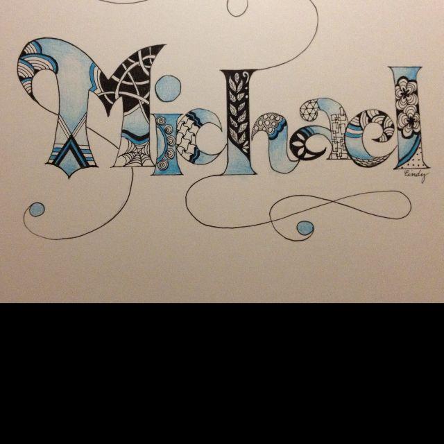 Fun zentangle name alphabet letters 1st birthday michael birthday