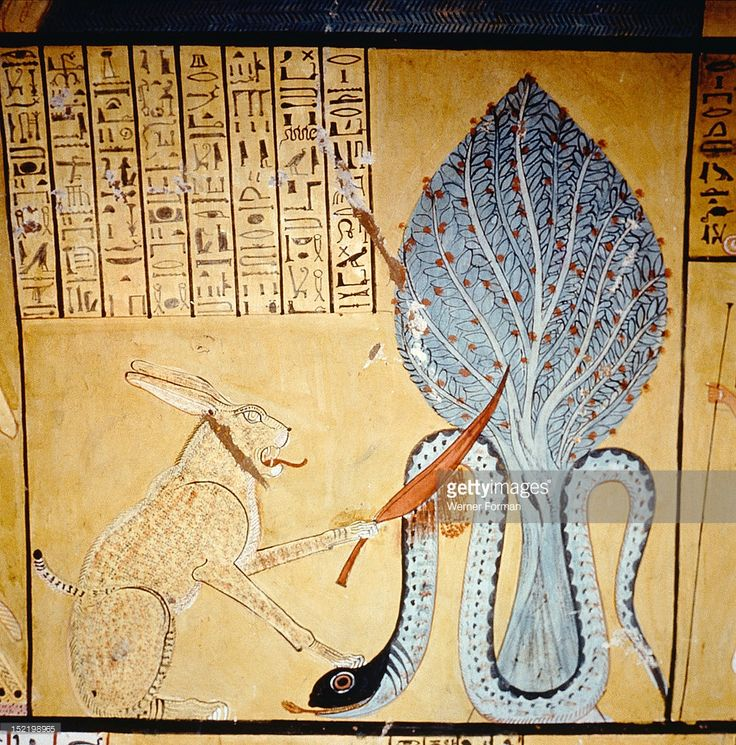 A detail of a painting in the tomb of Inherkha, Under a sacred sycomore the sun god Ra, in his cat form, kills the snake god Apophis (shown coiled around the sacred sycamore or persea tree which was a symbol of the sun), god of the underworld and symbol of the forces of chaos and evil. Egypt. Ancient Egyptian. 20th dynasty c 1186 1070 BC. Deir el Medina, West Thebes.