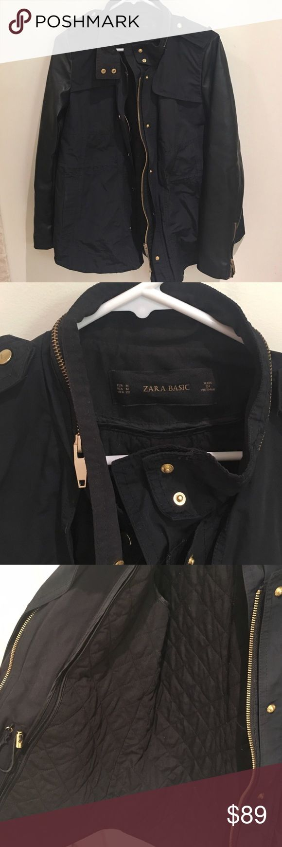 Trendy Zara jacket worn once! Trendy Zara jacket, only worn one time! Only selling because it's too small on me. Has gold detailing, faux leather sleeves, and removable lining! Size medium! Comes from smoke free home. No hood. Zara Jackets & Coats Utility Jackets