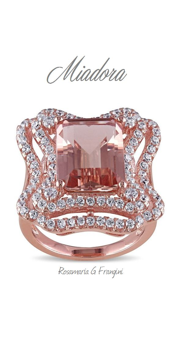 High Pink Jewellery | TJS | Pink Zirconia simulating Morganite with White Diamonds Cocktail Ring by Miadora