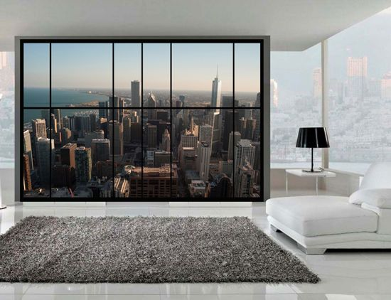 Large Apartment Style Window Wall View Of Chicago. Self Adhesive Wall Mural  | Window Wall, Wall Murals And Adhesive Part 83