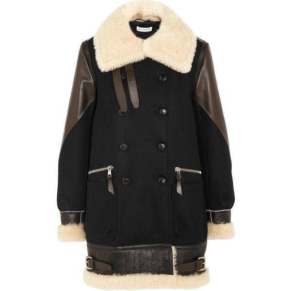 Altuzarra Ismir shearling and leather-trimmed wool-blend felt coat ($2,797) ❤ liked on Polyvore featuring outerwear, coats, black, wool blend coat, altuzarra, double-breasted coat, fuzzy coat and leather trim coat