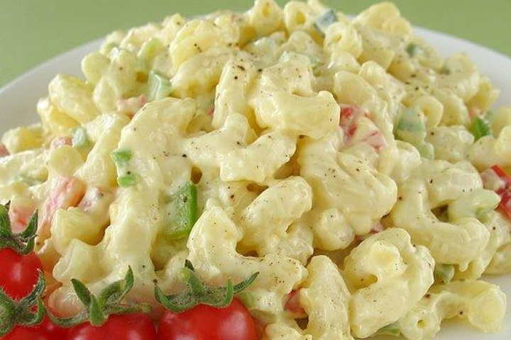 Macaroni salad. I always had mine with hard boiled egg cut up in it, so I will just add it to this recipe.