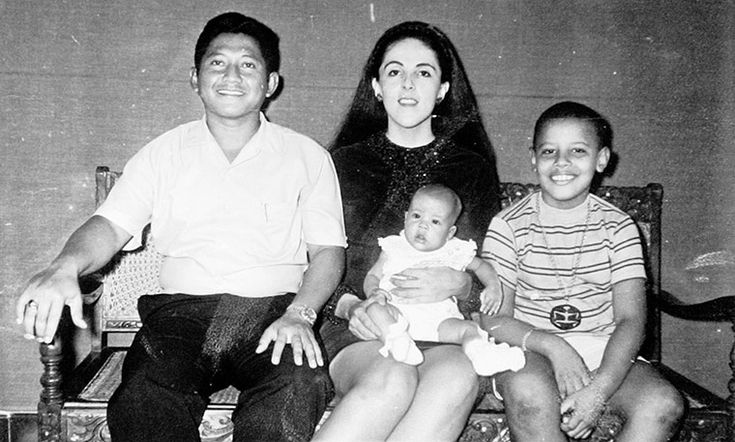 Stepfather Lolo Soetoro with his wife Ann Dunham, Barack's mother, his half sister Maya and Barack
