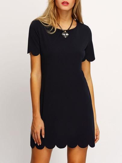 Black Scalloped Hem Short Sleeve Dress. Fabric: Fabric has no stretch Season: Summer Type: Tunic Pattern Type: Plain Sleeve Length: Short Sleeve Color: Black Dresses Length: Short Style: Casual Materi