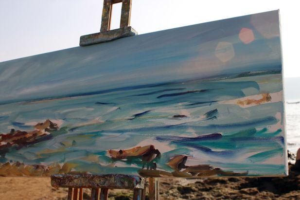 Pinturas de alvarodehados en directo en la playa