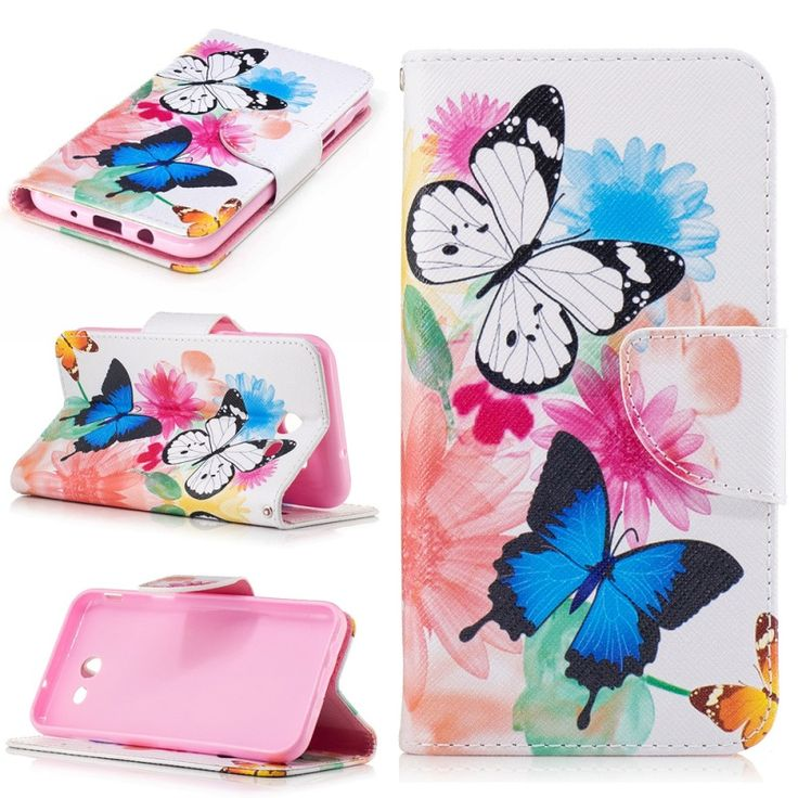 for Galaxy J 3 Emerge coque funda Leather Stand Mobile Cover for Samsung Galaxy J3 Emerge/J3 Prime/J3 (2017) Flowers Butterfly