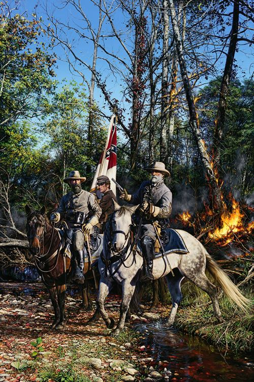 FROM THE LINE OF FIRE    Generals Robert E. Lee and James Longstreet  In The Battle Of The Wilderness - May 6, 1864
