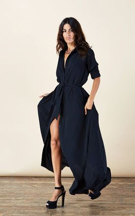 Maxi Shirt Dress in Black - SilkFred - FleAtwooD style