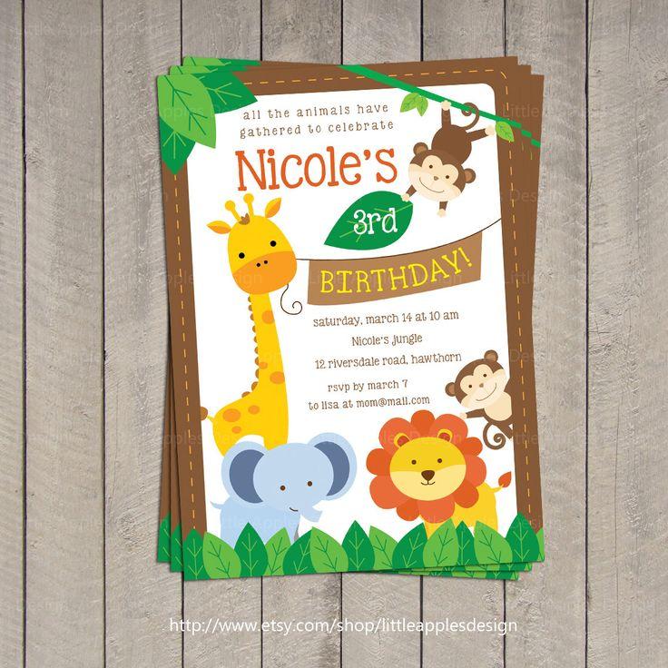 jungle birthday invitations   Safari Invitation / Safari Birthday invitation / Jungle Invitation ...