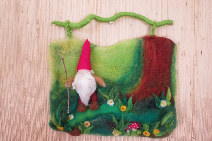 Little gnome in theSummer forest (3D wall hanging  in waldorf tradition). $87.00, via Etsy.