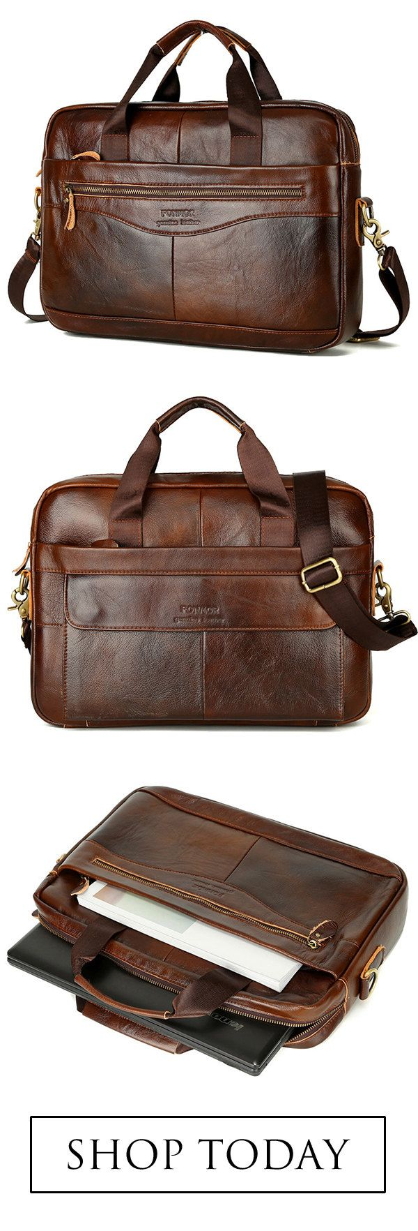 Briefcase in Leather for Men. Excellent Quality.