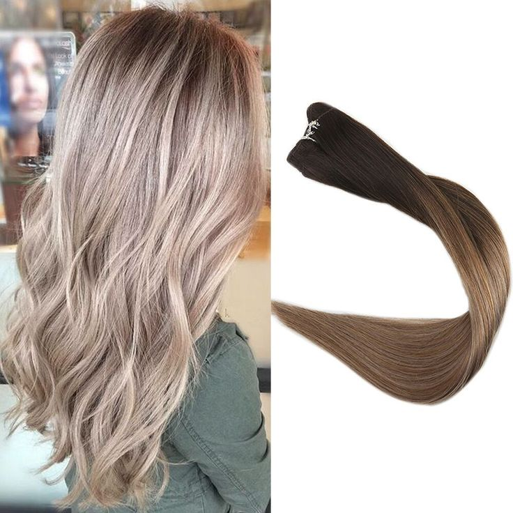 Hair Weft Ombre Hair Extensions Balayage Sew in Hair Extensions Color 2/8/18100g #FullShine #OnePiece