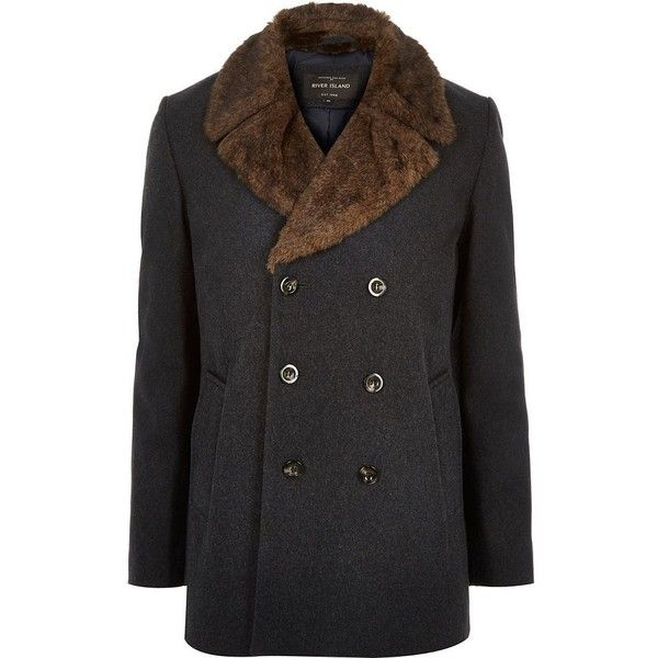 River Island Dark grey double-breasted winter peacoat ($100) ❤ liked on Polyvore featuring men's fashion, men's clothing, men's outerwear, men's coats, sale, tall mens pea coat, mens double breasted pea coat, mens double breasted coat and mens tall coats