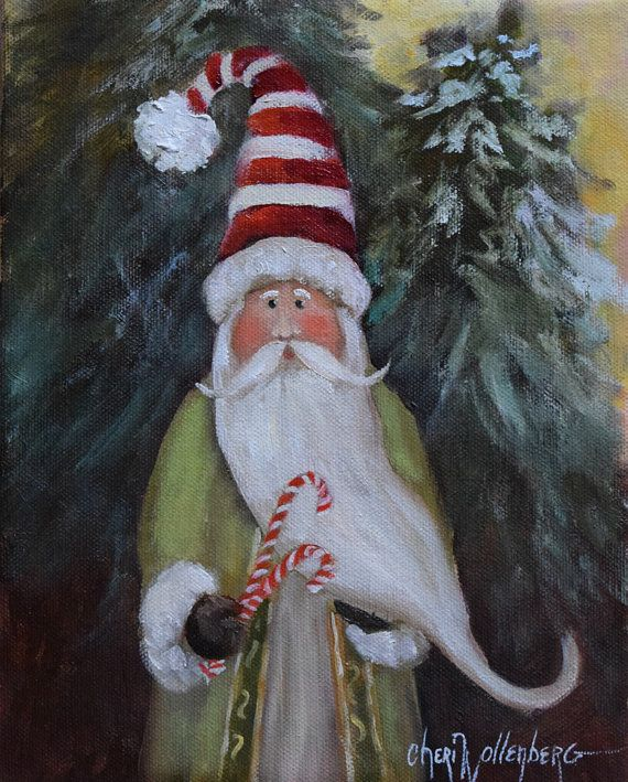 Christmas Oil Painting  Whimsical Peppermint by ChatterBoxArt