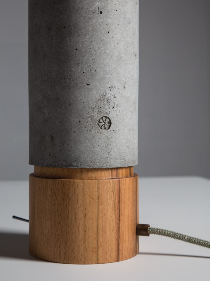 Slice office. Hand made office lamp from wood and concrete