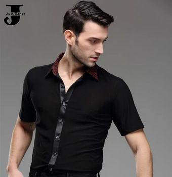 US $29.76 / piece  2015 New Arrival Man Ballroom Dance Tops Cha Cha/Rumba/Samba/Tango/Latin Competition Tops Men Dance Shirt