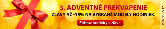 3. adventné prekvapenie.  Vianočné ceny na vybrané hodinky až -15% do 19.12.  http://www.1010.sk/tag/vianocna-cena/